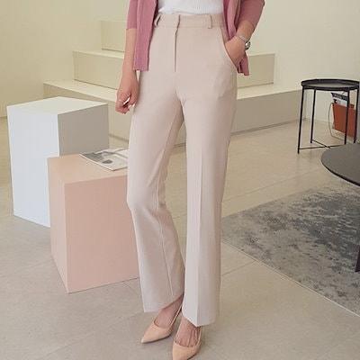 送料0円!★コスパ最高★韓国ファッション [lamuet] エッジハイウエストスラックスブーツカットの女性のスーツのズボン