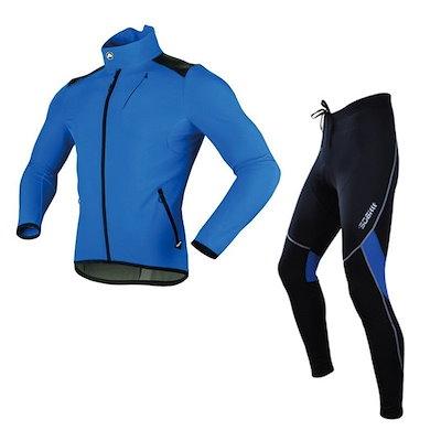 Sobike Cycling Suits Fleece Bicycle Winter Jacket-Alien Blue &  Outdoor Sport Fleece Tights-Cruise Warm Blue