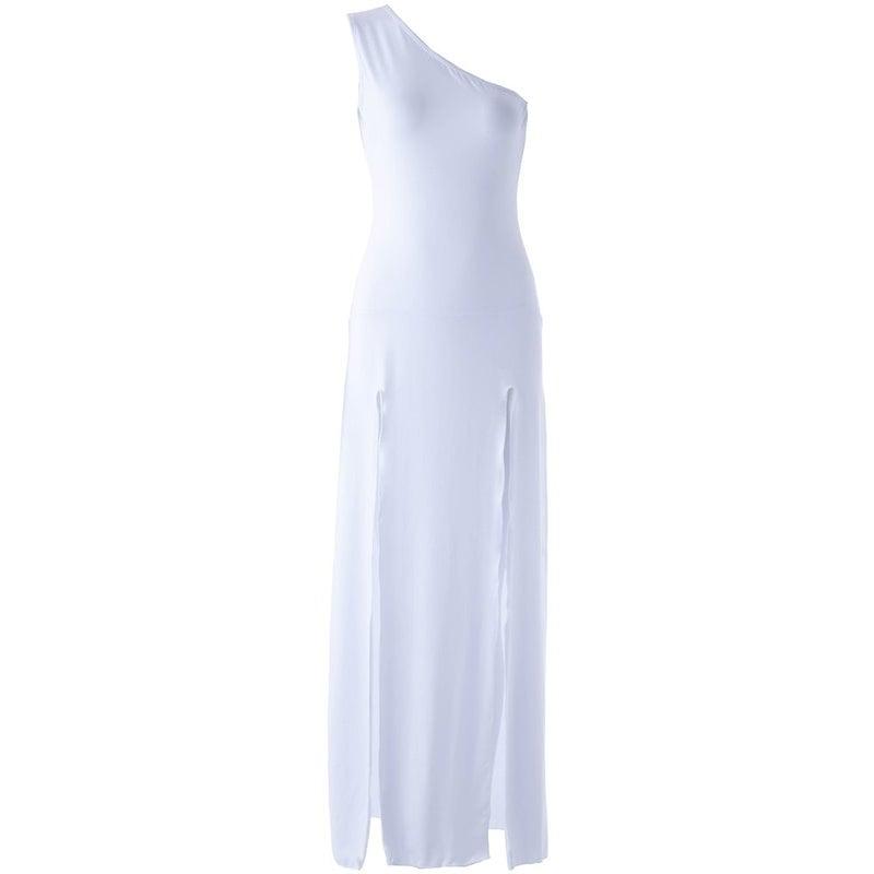 女性のためのセクシーなワンショルダーサイドスリットソリッドカラードレス