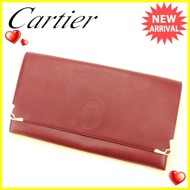 カルティエ Cartier クラッチバッグ セカンドバッグ レディース メンズ 可  マストライン ボルドー×ゴールド レザー 人気 セール 【中古】 T2803 .