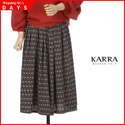 [カラインプラント]KARRAシルクタッチチェーン捺染スカートKBIWSK077A スカート/しわ/プリーツスカート/ 韓国ファッション