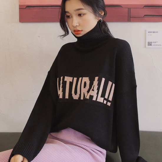 【ウィドゥイプン]ナチュラルレタリングポーラニット ニット/セーター/タートルネック/ポーラーニット/韓国ファッション