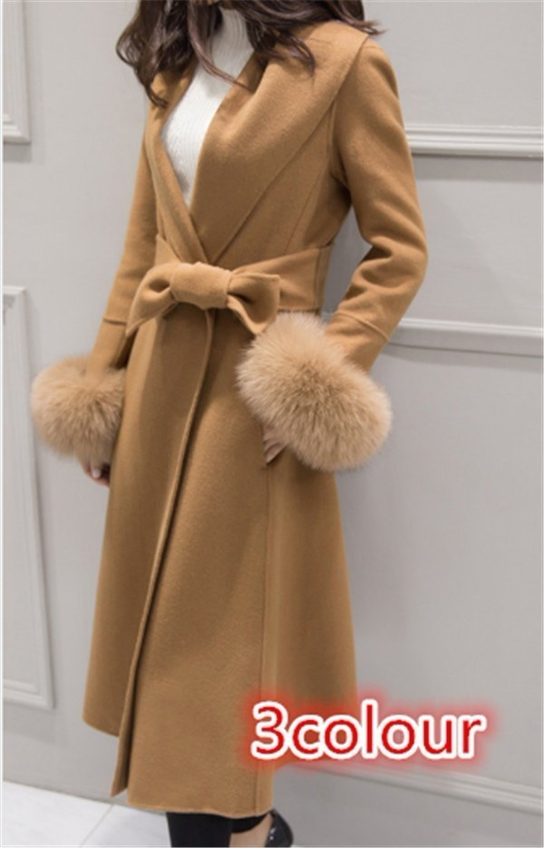ジャケット  秋新作 ファッション ひも付き フリース スリム  コットン クラシック スクール ロング トレンチコート