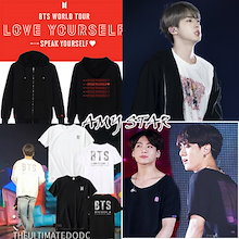 "新品追加!防弹少年团[BTS WORLD TOUR ""LOVE YOURSELF:SPEAK YOURSELF""グッズ 防弾少年団 BTS TEAM Tシャツ BTS 着用"