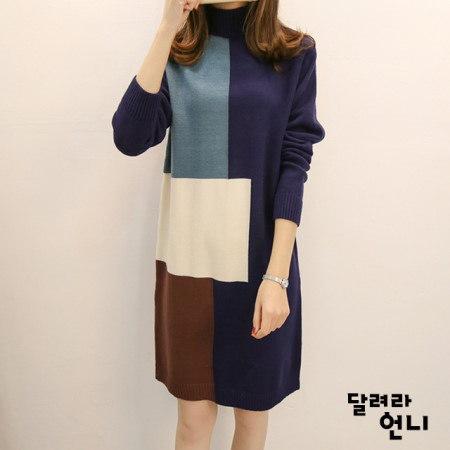 ミックスニットワンピースkorea fashion style