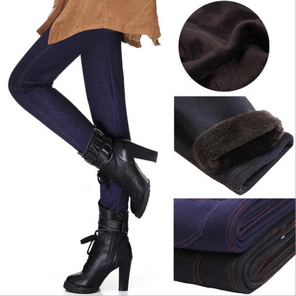 ファッション暖かい冬のレギンスの女性ウォームパンツフリースデニムパンツの内側フットレス
