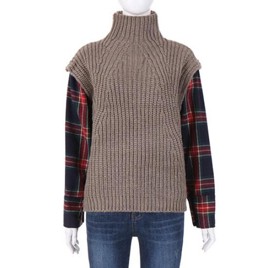 コインコーズ少女少女チェックレイヤードセーターIK7WP6950 ロングニット/ルーズフィット/セーター/韓国ファッション