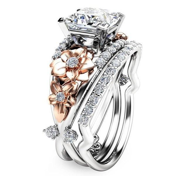 プリンセスカットトゥーネ925スターリングシルバー&ローズゴールドは、ホワイトサファイアウェディングエンゲージメントを提出