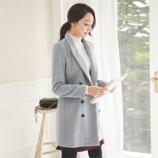 OTI500ソフトベーシックテーラーダブルコート 女性のコート/ 韓国ファッション/ジャケット/秋冬/レディース/ハーフ/ロング/