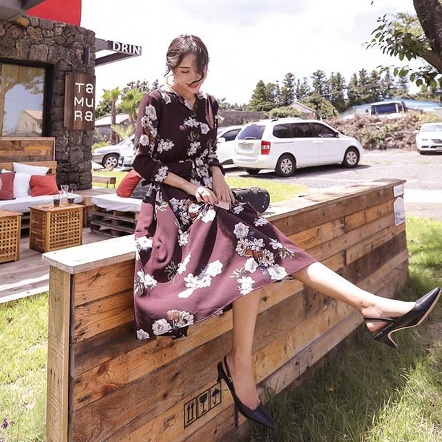たおやかなゲストルックオフィスルック秋の花のパターンベルトワンピースデイリールックkorea women fashion style