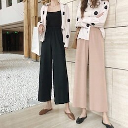 【ANDSTYLE】韓国ファッション/ワイドパンツ(ウエストゴム)/快適ながら楽なはき心地 普段コーデにおすすめ ワイドパンツ_244470