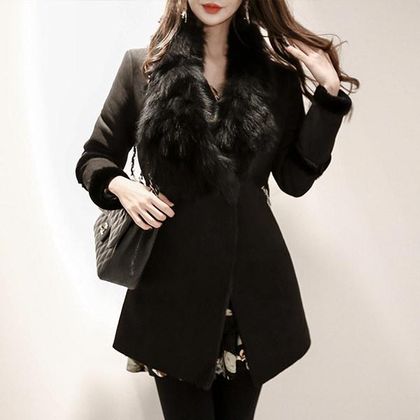 marlangrouge(韓国ファッション)[marlangrouge]ファーカラーフェイクムートンジャケット