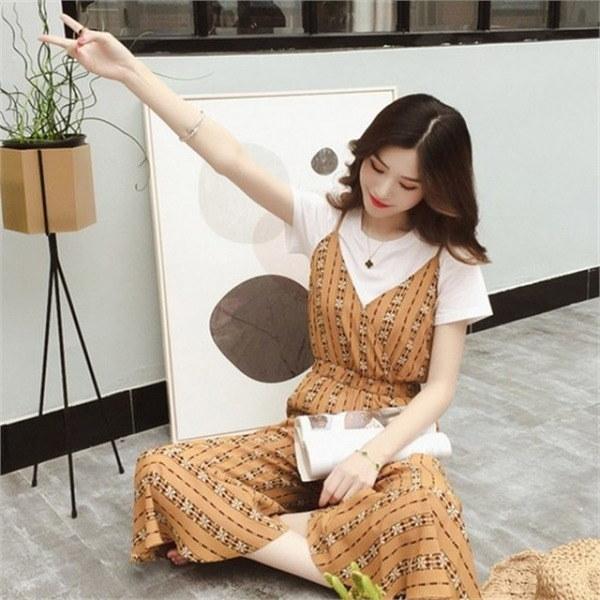 hlr07やフリルつなぎセットティーシャツセットジャンプスーツ私newsrcLangTypeko 女性ニット/カーディガン/韓国ファッション