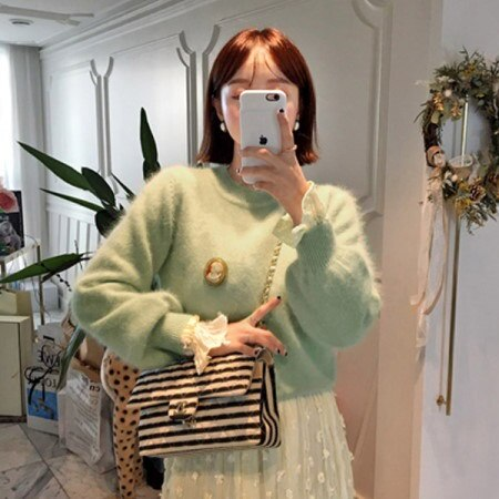 [Imvely] pastel powder angora knit Korean fashion style