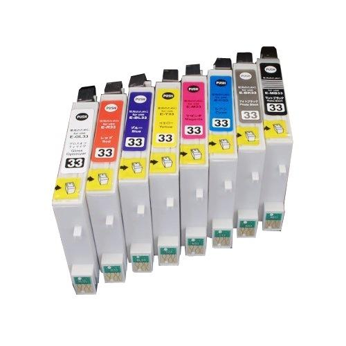 IC8CL33 ×1 / 8色セット EPSON (エプソン) 互換インク 全色染料 【対応インク型番】 ICBK33 ICMB33 ICC33 ICM33 ICY33 ICR33 ICBL33 IC
