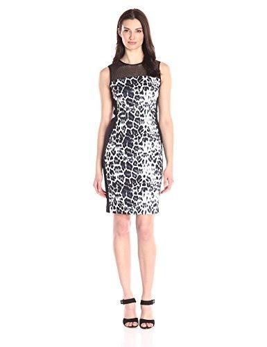 T Tahari Womens Dakota Sleeveless Dress Cheetah, Cocoa, 8