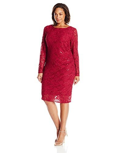 Marina Womens Plus-Size 3/4 Sleeve Floral Lace Dress with Side Pleating and V Back, Cranberry, 22W