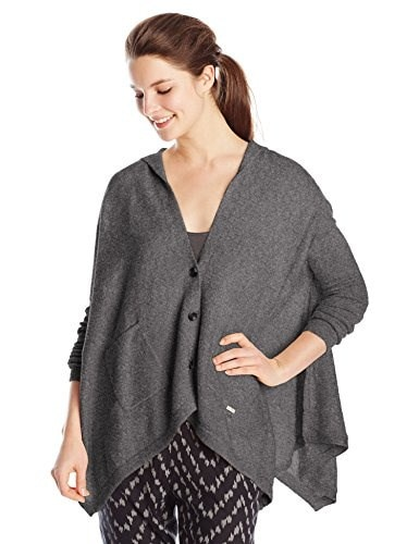Roxy Juniors Changing Channels Oversized Poncho, Charcoal Heather, Medium/Large