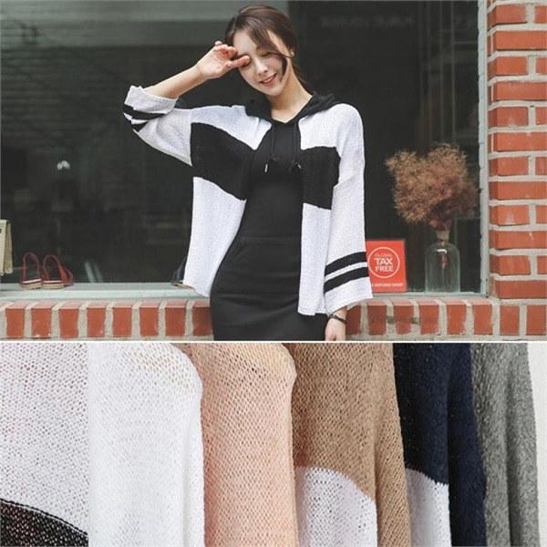OTI299配色・サマーニットオープンカディゴンnew 女性ニット/カーディガン/韓国ファッション
