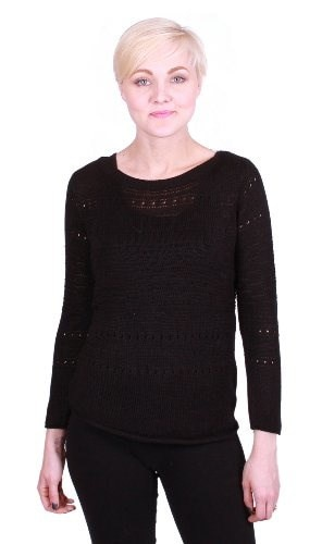 Grace Elements Long Sleeve, Boat Neck Sweater (Small, Black)