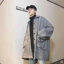 メンズファッション oversizeコート 韓国ファッション 秋 コート 上着 チェック柄