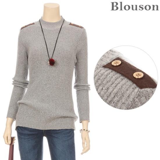 ブルルジョンブルルジョン肩章ゴールドボタンゴルジニットB1712KN203D ニット/セーター/ニット/韓国ファッション