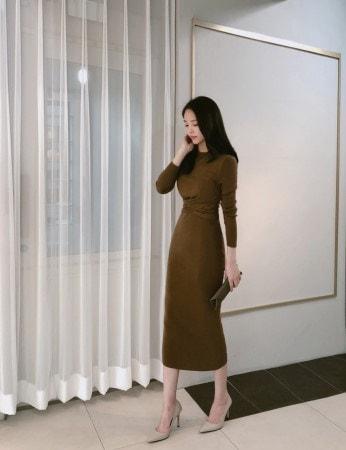 Wool Cashmere Knit Twist Long Dress Korean fashion style