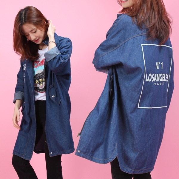 ナンバーワンデニムジャケット デニム/ライダー / 韓国ファッション/ジャケット/秋冬/レディース/ハーフ/ロング/
