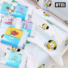 【BT21 x LINE 公式】 KPOP GOODS 防弾少年団 ラッフル ベッド シート Cool Bed Sheet TATA RJ CHIMMY COOKY SHOOKY MANG KOYA
