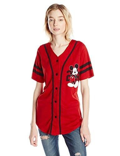 Disney Juniors Mickey Mouse Short Sleeve Baseball Button Down Fashion Tee, Red, Medium