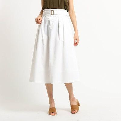 Dessin UNTITLED(Ladies)(デッサン アンタイトル(レディース))【洗える】ベルト付コットンフレアスカート