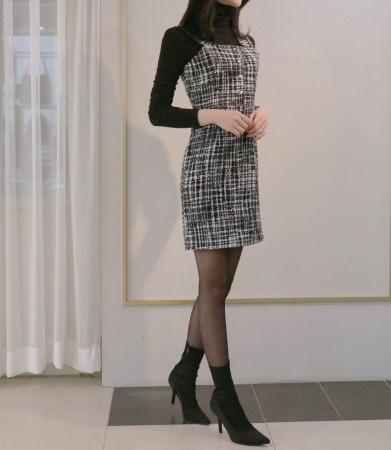 パールツイードビスチェ冬ワンピースKorean fashion style