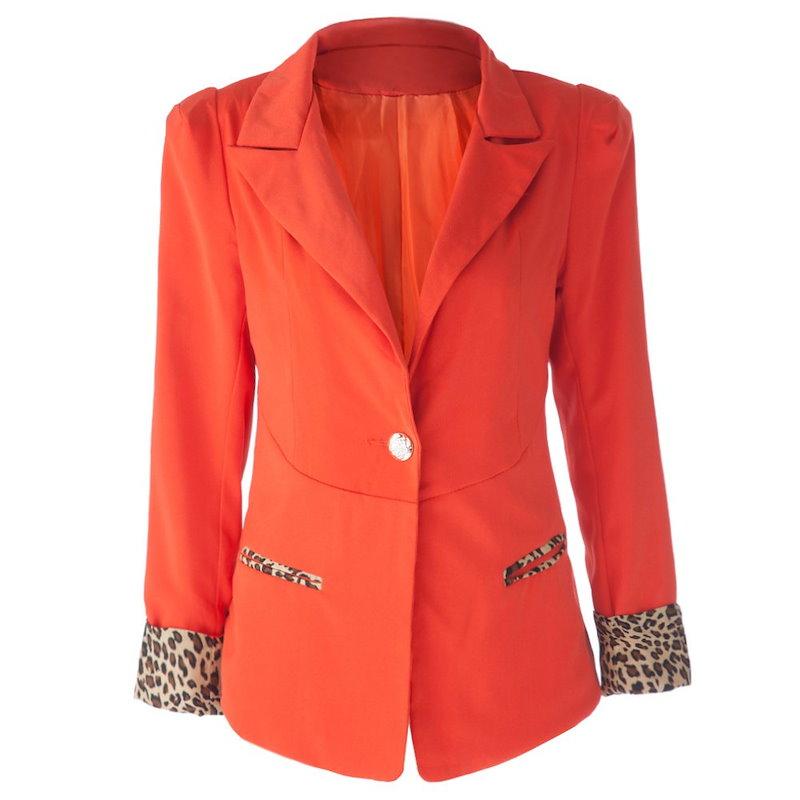 女性のためのスタイリッシュなラペル襟ロングスリーブヒョウスプライシングブレザー