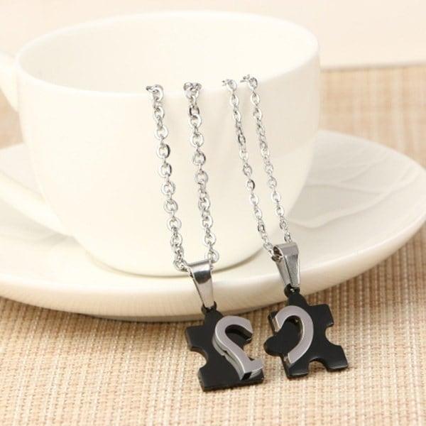 新しいスタイルクリエイティブカップルハート型ネックレスチタン鋼のパズルバレンタインデーのギフト