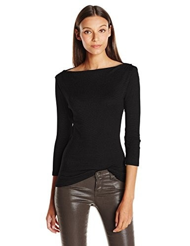 Michael Stars Womens Shine 3/4 Sleeve Top with Shoulder Shirring, Black, One Size
