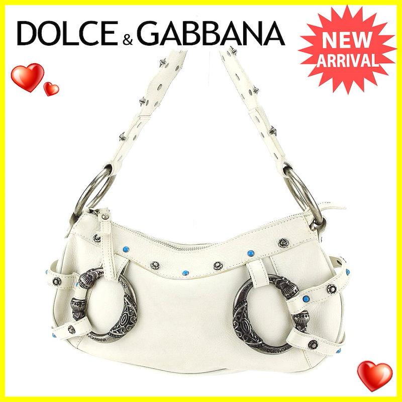 ドルチェ&ガッバーナ Dolce&Gabbana ショルダーバッグ ワンショルダー ハンドバッグ メンズ可   ホワイト×シルバー×ターコイズブルー レザー×金具 人気 良品 【中古】 T3335 .