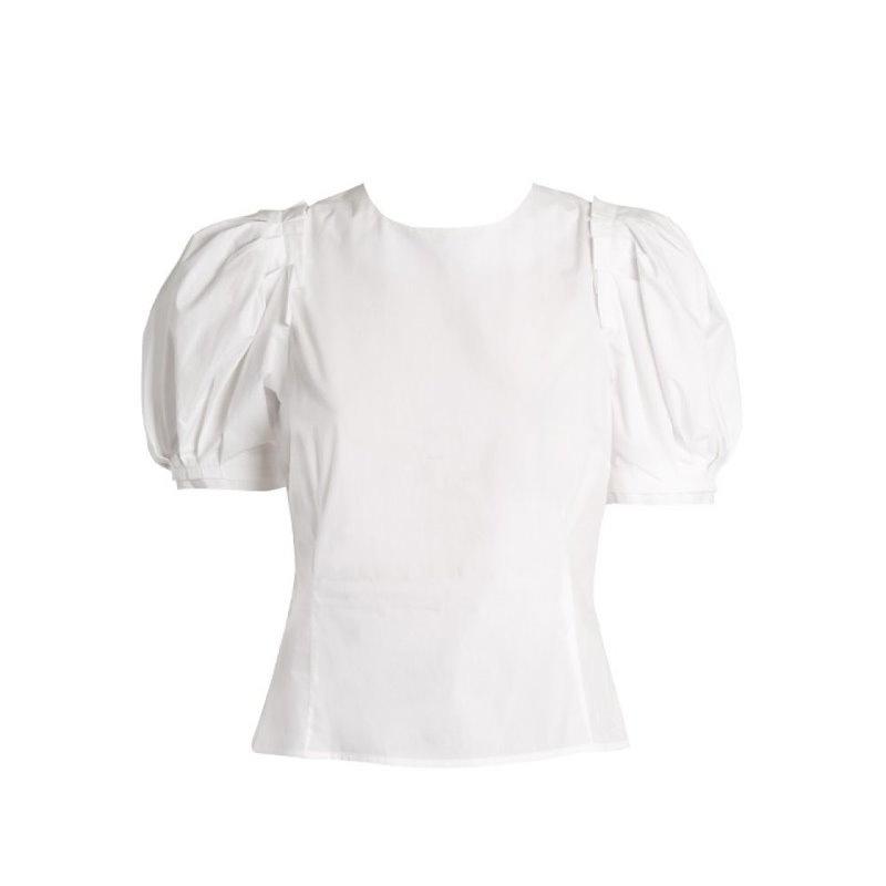 ブロック コレクション レディース トップス【Takato puff-sleeved cotton top】White
