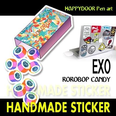 EXO KOKOBOP CANDY キャラクターイラスト WATERPROOF STICKER キャリアステッカー PEN ART 携帯キャリアステッカ-[happy door original]
