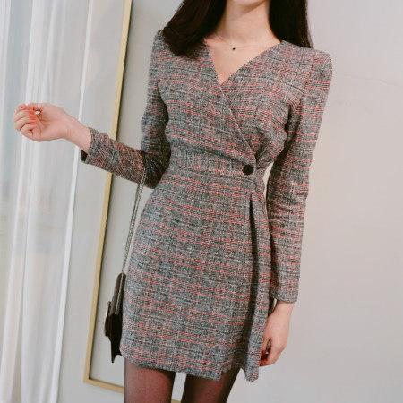 Glen Check Lap A-line Dresses Korean fashion style