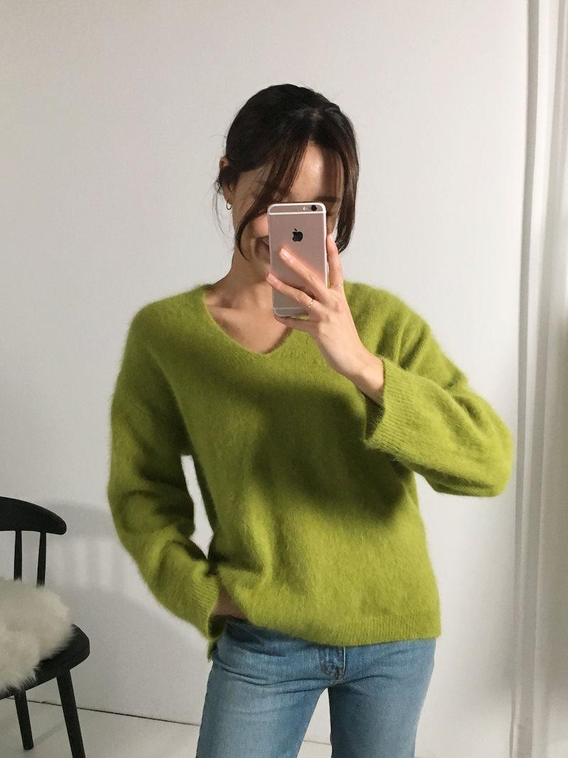 ウェルシュラブリーアンゴラウールニットkorea fashion style