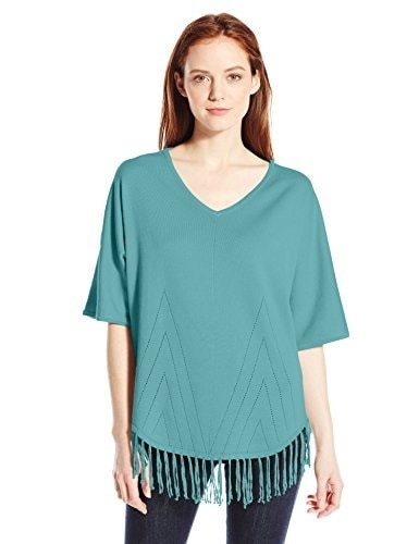 NY Collection Womens Petite Elbow Dolman Sleeve Rounded Bottom Frindged Sweater with Pointelle, Dusty Teal, Petite/Large