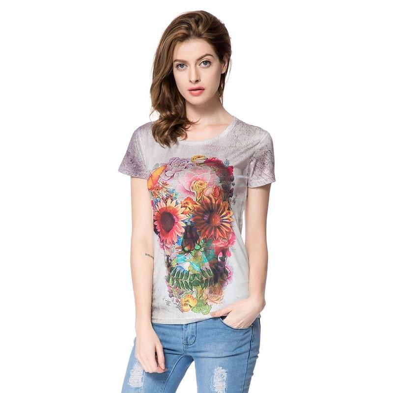 スタイリッシュなラウンドネック半袖花プリントスカルパターンレディースTシャツ
