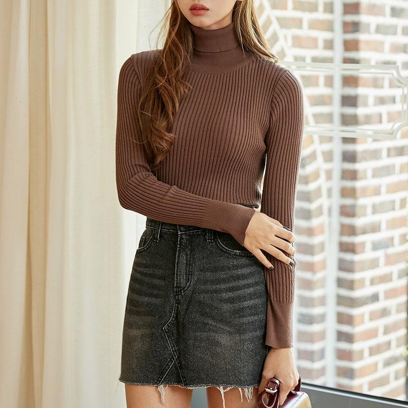 【送料無料】★韓國ファッション★golgi high neck knit♥ゴルジハイネックニット