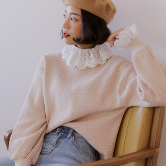 【ウィドゥイプン]ルービンレース編み ニット/セーター/タートルネック/ポーラーニット/韓国ファッション