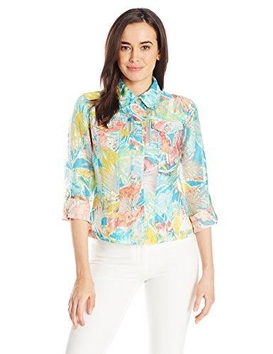 Ruby Rd. Womens Ikat Print Burnout Shirt Jacket, Flamingo Multi, 12