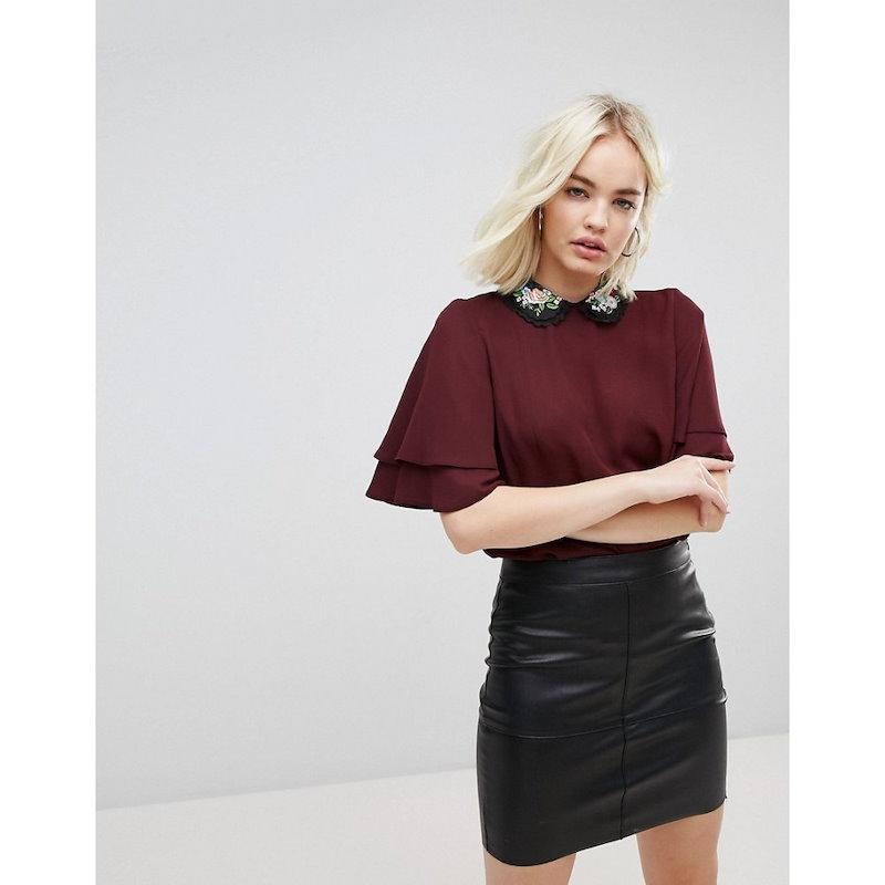ニュールック レディース トップス【New Look Embroidered Collar Frill Sleeve Top】Dark burgundy