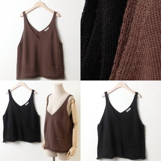 ウィスィモールIW・ポケット・ニットビュスチェNB17122col66110size ニット/セーター/ニット/韓国ファッション