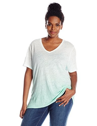 Two by Vince Camuto Womens Plus-Size Short Sleeve Ombre Brisk Dip Dye Linen V-Neck Tee, Ocean Wave, 1X