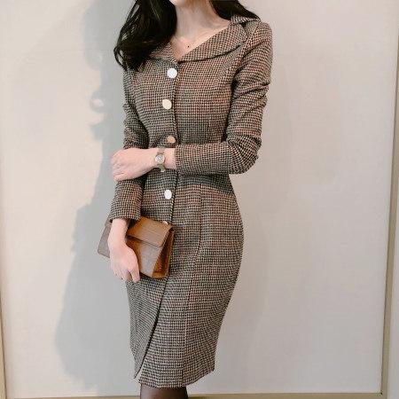 ゴールドボタンHラインチェックワンピースKorean fashion style