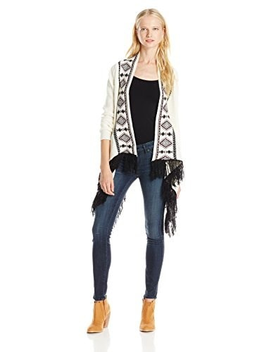 My Michelle Juniors Marled Aztec Printed Cover Up Chunky Sweater with Fringe Detail At Hem, Ivory, Medium